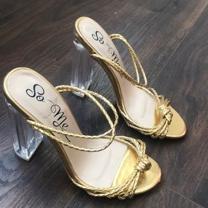 Shoes - Gold Sandal Clear Heel